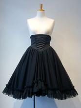 Gothic Lolita SK Tulle Layered Ruffle Pleated Black Lolita Skirt