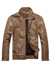 Chaqueta de cuero de hombre 2020 chaqueta de moto de primavera con cuello levantado cremallera metálica