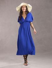 Elegante Sexy profunda com decote em V Rayon Womens Maxi vestido