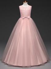 Vestidos Da Menina De Flor 2021 Blush Rosa Lace Tule Em Torno Do Pescoço Sem Mangas Vestido De Princesa Concurso Arcos Vestidos De Festa De Crianças