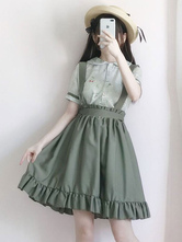 Classic Lolita Outfit Green Bow Ruffle Jumper Skirt With Short Sleeve Chiffon Blouse