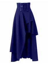 Moda Mujer Falda Maxi 2020 de color negro encaje-up vendaje