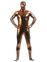 Coffee Brown Zentai Suit Adults Full Body Shiny Metallic Bodysuit for Men