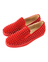 Men Loafers Leather Round Toe Slip On Shoes Red Loafers With Spikes