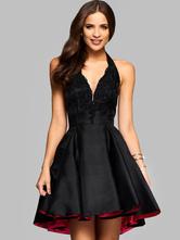 Black Skater Dress Lace Plunging Neckline Halter Sleeveless Backless Fit Flare Dress
