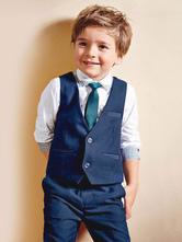 Traje del portador del anillo traje de los muchachos pantalones azules camisa chaleco corbata de lazo niños traje formal