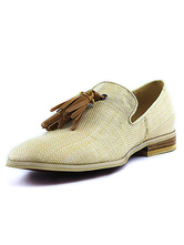 Beige Men Loafers 2021 Canvas Square Toe Slip On Shoes Dress Shoes With Tassels