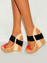 Women Wedge Sandals Plus Size Platform Open Toe Patchwork Heels Sandal Shoes