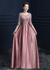 Lace Evening Dress Satin Round Neck Half Sleeve Mother Of The Bride Dress Cameo Pink A Line Floor Length Wedding Guest Dresses