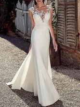 mermaid wedding dresses 2021 illusion neck sheath sleeveless lace embellishment beachwear bridal gowns with sweep train