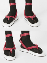 Karneval Kostüm Dämonentöter Kimetsu No Yaiba Cosplay Kamado Tanjirou Rote Cosplay-Sandale aus Kunstleder Faschingskostüme