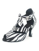 Zebra impressão Peep Toe fivela de seda e cetim mulher sapatos latinos