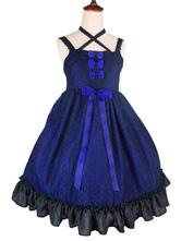 Gothic Lolita Dress Puppet JSK Tulle Jacquard Ruffles Ribbon Bow Plum Lolita Jumper Skirt