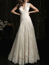 Simple Wedding Dress 2020 Lace V Neck Sleeveless floor length backless Tulle Bridal Gowns with Train