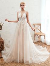 Robe de mariée 2020 col en V sans manches A-line robes de mariée en tulle avec traîne