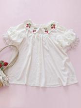 Sweet Lolita Blouse Infanta Strawberry Print Lace Short Sleeve Lolita Top