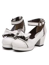 Zapatos de lolita de PU con lazo de puntera redonda para ocasión informal