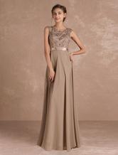 Chiffon Mother's Dress Lace Beading Formal Evening Dress Sleeveless Taupe Sash Floor Length Wedding Guest Dresses