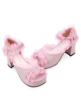 Synthétique cuir rose ébouriffées Trim milieu talon rond Toe Lolita sandales  Déguisements Halloween