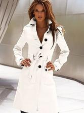Women Trench Coat White Long Sleeve Winter Overcoat