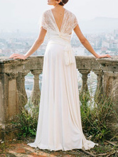 Simple Wedding Dress Sheath V Neck Sleeveless Pleated Floor Length With Train Lace Bridal Dresses