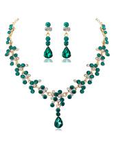 Wedding Necklaces Green Heart Shaped Rhinestone Wedding Necklace
