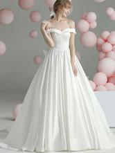Vintage Wedding Dresses Chapel Train Sweetheart Neck Sleeveless Ruffles Satin Fabric Bridal Gowns