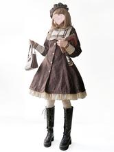 Classic Lolita Coats Infanta Trench Coats Bows Jacquard Winter Lolita Outwears