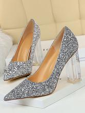 Frauen  's Glitter Pumps High Heel Party Schuhe Spitz Transparente Chunky Heel Abendschuhe