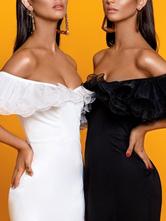 Partykleider Schwarz Bateau Neck Lace Sleeveless Backless Semi Formal Dress