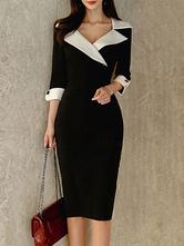 Vestidos ajustados Dos tonos Cuello en V negro División delantera Estiramiento Clásico Mangas 3/4 Longitud Vestido de lápiz
