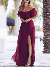 Vestido de dama de honra Chiffon Uma linha fora do ombro até o chão vestido de festa de casamento de alta divisão