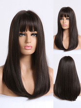 Long Wig For Woman Brownish Black Straight Rayon Casual Layered Long Synthetic Wigs