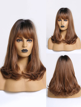 Women Long Wig Amber Straight Rayon Bohemian Tousled Long Synthetic Wigs