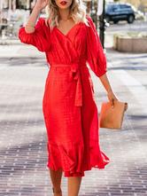 Robe moulante rouge à volants col en V Robe d'été pour les femmes