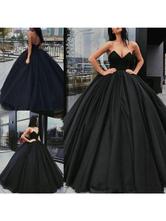 Vestidos de noiva preto Tecido de cetim Princesa Silhueta Império Cintura até o chão Vestido de noiva