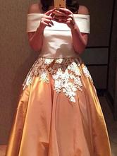 de línea A con manga corta Vestidos de novia Oro ligero con escote de hombros caídos hombro caído cintura natural con aplicación Tela Satén