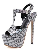 T-bar das mulheres sandálias sexy salto alto plataforma peep toe iridescente croco impressão sapatos