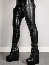 Mulheres Sexy Botas Preto Pointed Toe Rebites Wedge Heel Rave Clube botas altas da coxa sobre as botas do joelho