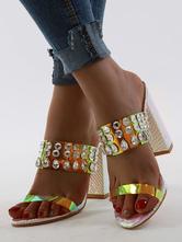 Multi Straps Sandal Slippers Women Open Toe Rhinestones Chunky Heel Slip On Sandal Slides