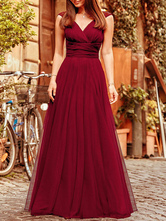 Vestido de dama de honra rosa Chiffon uma linha até o chão vestido de festa de casamento