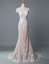 Einfache Hochzeitskleid Meerjungfrau Juwel Hals kurzen Ärmeln bodenlangen angepasst Spitze Brautkleider mit Zug