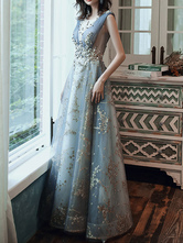 Prom Dress A Line Sleeveless Floor Length Jewel Neck Lace Appliqued Formal Occasion Dresses