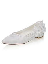 Слоновой кости кружева цветы острым носом плоские свадебные туфли мать невесты обувь