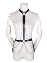 Women Punk Waist Belt Body Chain Faux Leather Harness Adjustable With Grommet