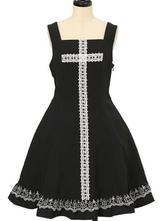 Gothic Lolita JSK Dress Criss Cross Lace Ruffles Black Lolita Jumper Skirts