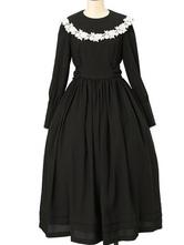 Sweet Lolita OP Dress Floral Lace Ruffle Black Lolita One Piece Dresses