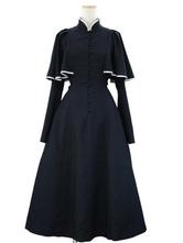 Gothic Lolita OP Dress Caped Ruflfe Black Long Sleeves Lolita One Piece Dresses