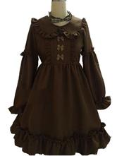 Classic Lolita OP Dress Frill Bow Chocolate Long Sleeves Lolita One Piece Dresses