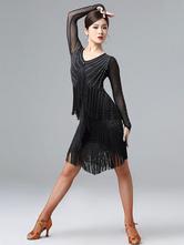 Costume de danse latine perle frange lycra spandex robe noir danse usure Déguisements Halloween